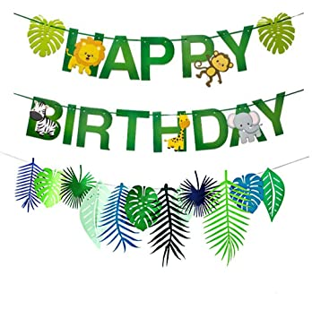 Xunlong Banner de Feliz cumpleaños de Animales de la Selva Decoracion De Paneles De Hojas Tropicales Guirnalda de cumpleaños temática del Bosque