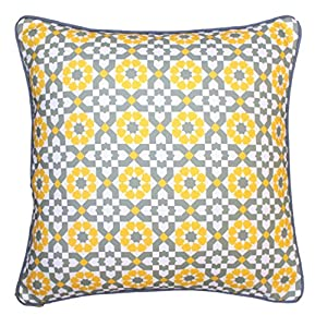 43 x 43cm Geometric Pattern Design Moroccan Grey Yellow Mustard