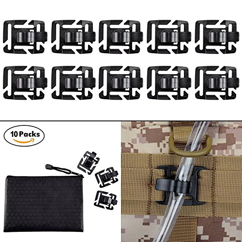 BOOSTEADY Pack of 10 Tactical Military Hydration Tube Clips Water Tube Clip MOLLE Webbing Attachment 360°Rotatable ()