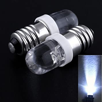 10 bombillas LED E10 de 3 V, 3,5 V, luz color blanco MES 1447, tornillo para linterna para bicicleta: Amazon.es: Coche y moto