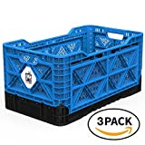 BIGANT Heavy Duty Collapsible & Stackable Plastic Milk Crate - IP734235, 23.8 Gallons, Large Size, Blue, Set of 3, Absolute Snap Lock Foldable Industrial Storage Bin Container Utility Tote Basket