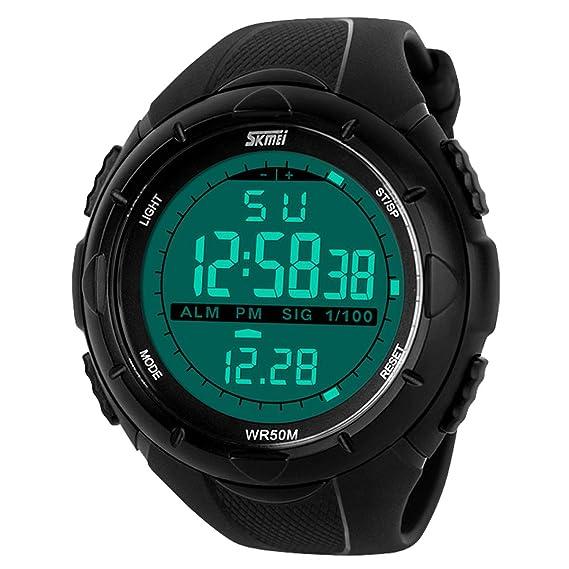 Happy Cherry Deportivo LED Reloj Digital de Cuarzo con Correa de Gaucho Esfera Grande Multifunción Alarma Cronómetro Calendario Waterproof Wrist Watch ...
