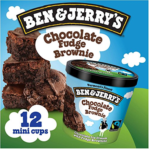 - Ben & Jerry's - Vermont's Finest Ice Cream, Non-GMO - Fairtrade - Cage-Free Eggs - Caring Dairy - Responsibly Sourced Packaging, Chocolate Fudge Brownie, 4 Oz. Mini Cups (12 count)