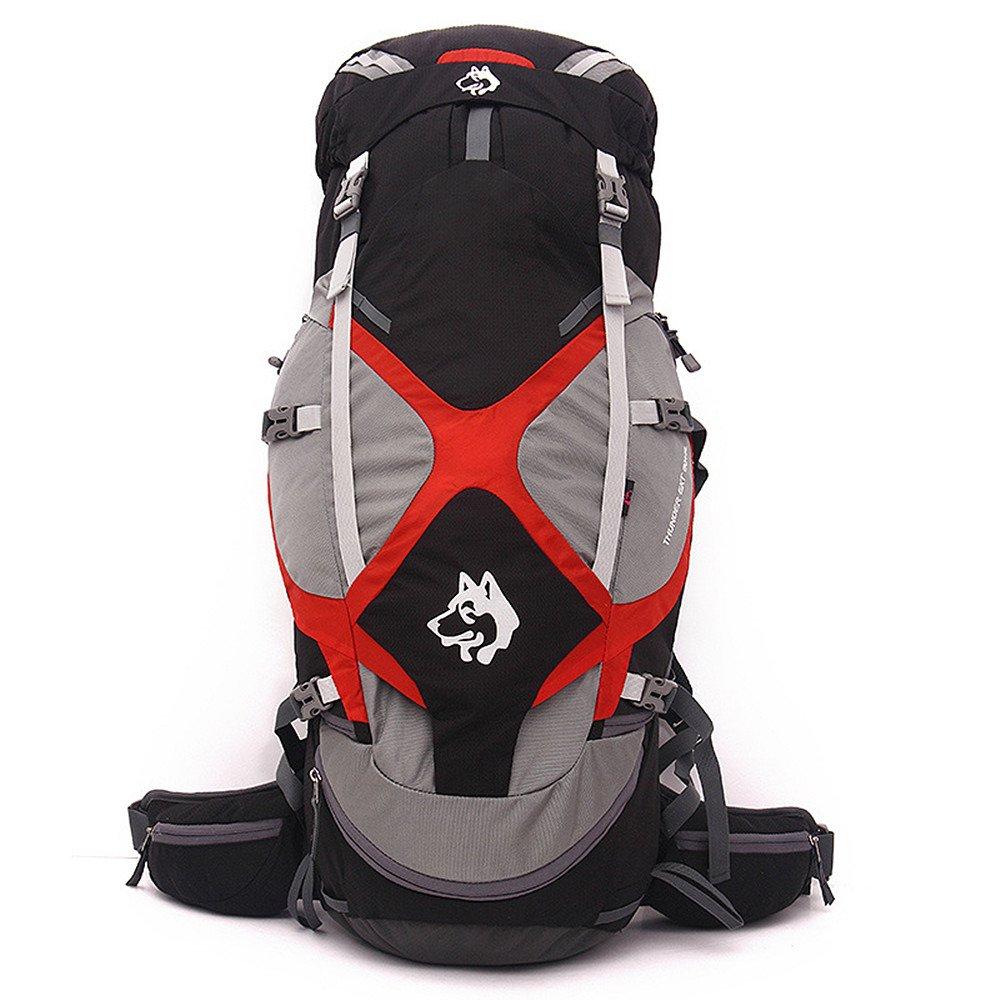 zxcvlina登山バックパック多目的大容量防水ナイロンキャンプ旅行byウォーキングレジャースポーツ肩ニュートラルMen and Womenアウトドアの使用に最適  ブラック B07F2VBY1C