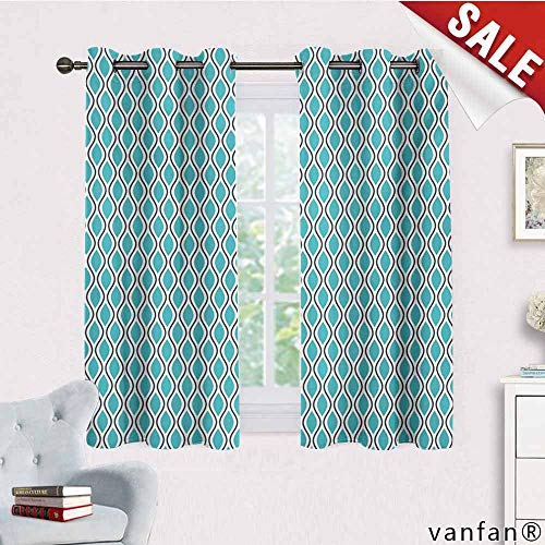 (Big datastore Unique Fashion Design Style,Abstract,Vertical Wavy Lines Oval Double S Shapes Curves Ogee Pattern,Customized Blackout Curtains,Turquoise Charcoal Grey White,W72 Xl72)