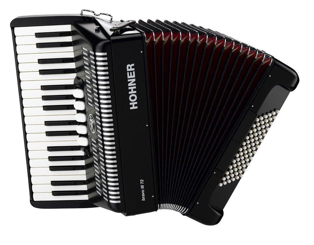 Hohner Bravo III Piano Accordion, 72 Bass, Black by Hohner Accordions