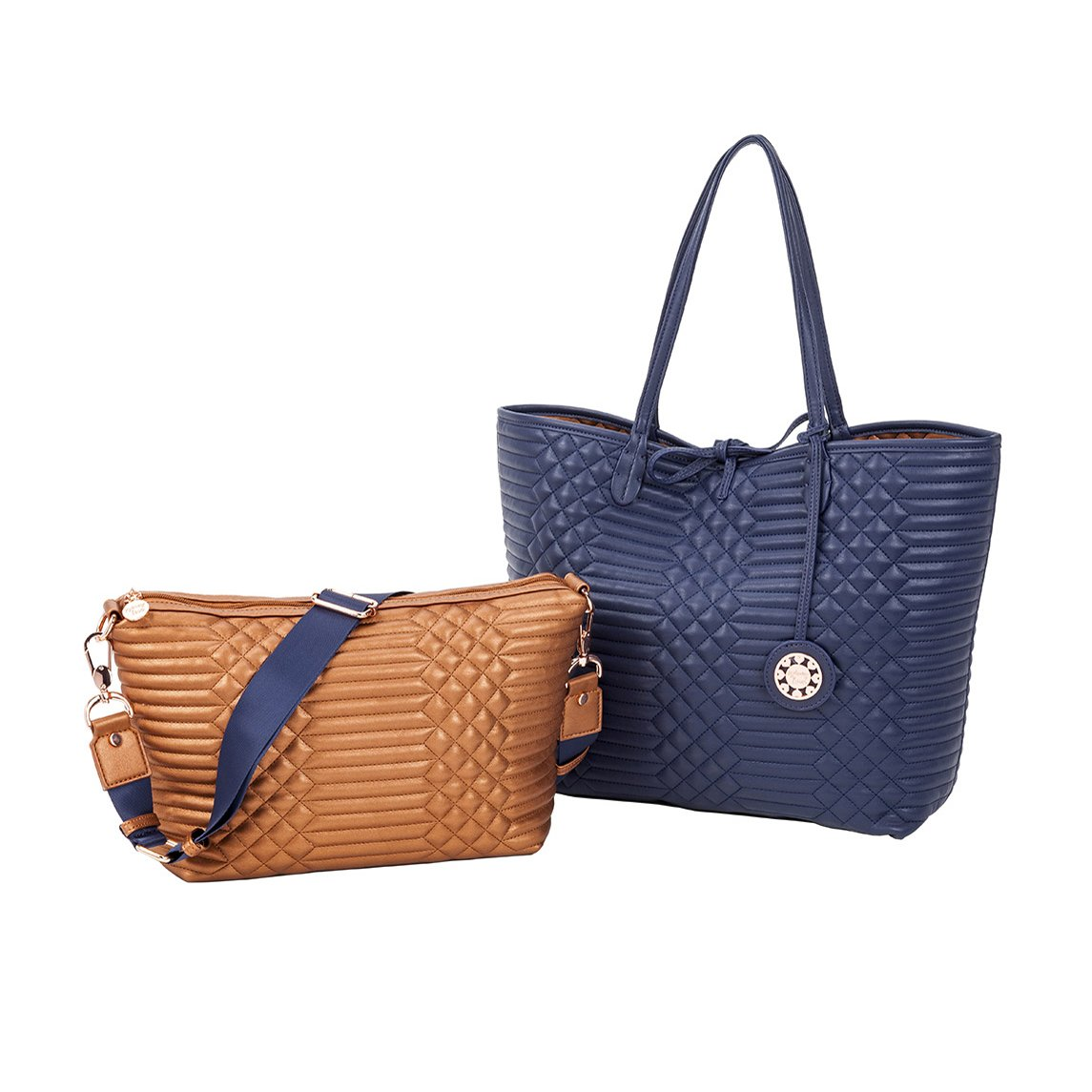 Sydney Love Qulilted Reversible Tote & Crossbody Set, Navy/Copper