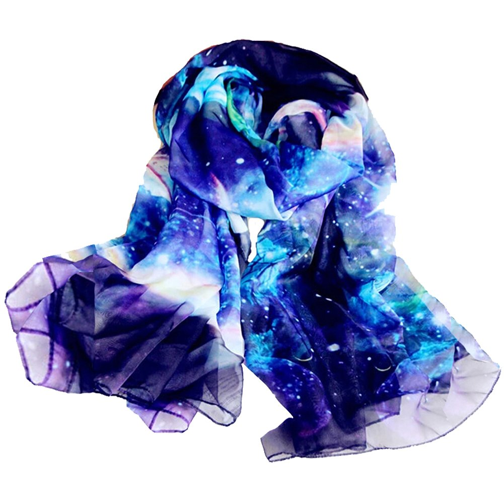 JOYJULY Starry Sky Galaxy Star Space Printing Chiffon Long Wrap Scarves with Gift Box Starry Scarf BL