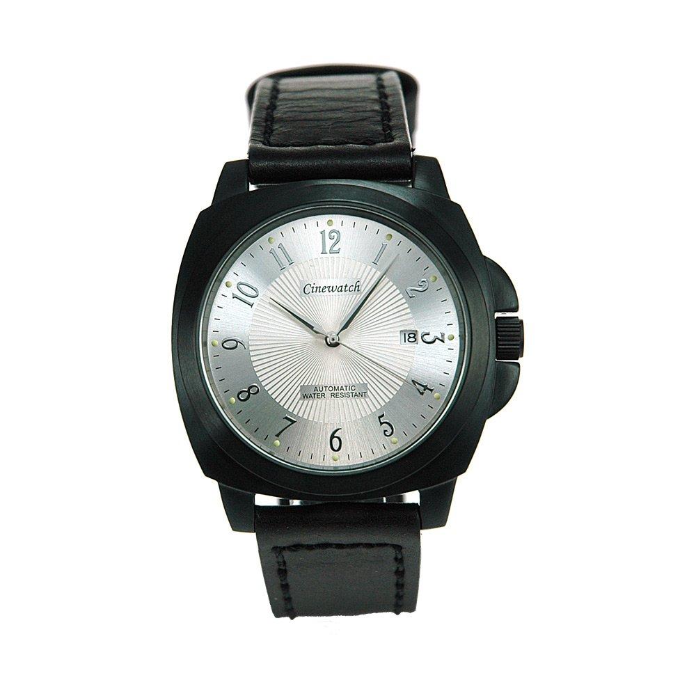 Cinewatch 707545401 Herrenarmbanduhr - MODERN TIMES - Automatik Miyota 8215 - Edelstahl schwarz - Lederband - 5 ATM