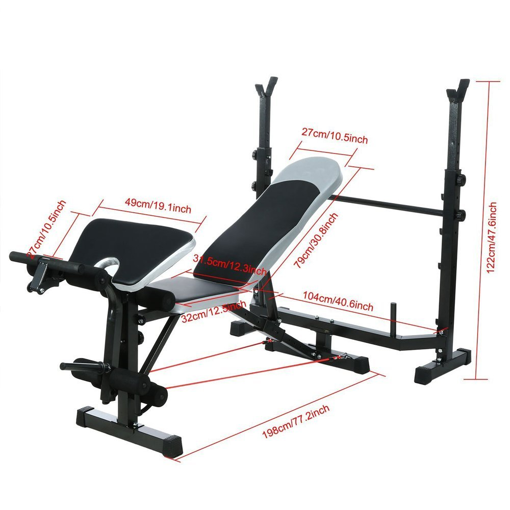 Leoneva 660Lbs Multi-Function Adjustable Weight Benches Proffesional Fitness Home Workout Bench With Preacher Curl/ Leg Developer/ Crunch Handle by Leoneva (Image #4)