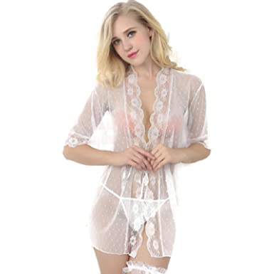 aa53e8943a Transparent Lace White Robe Sexi Lingerie Underwear Women Sleepwear Sexy  Erotic Apparel Sheer Baby Doll Nightgowns