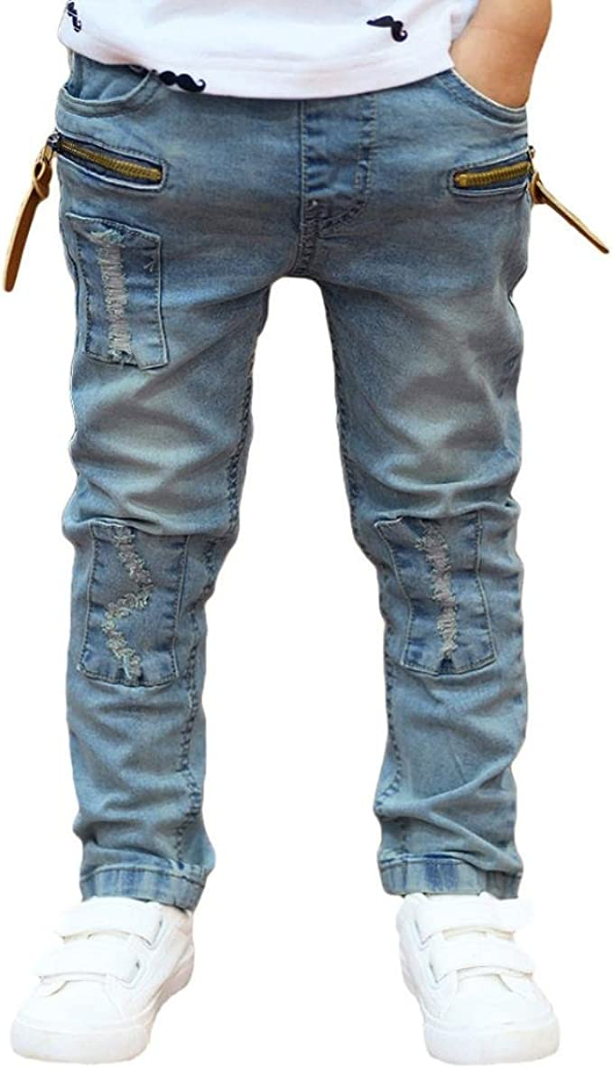 Fashion Baby Kids Boy Zipper Stretch Jeans Pants Elastic Waist Denim Trousers