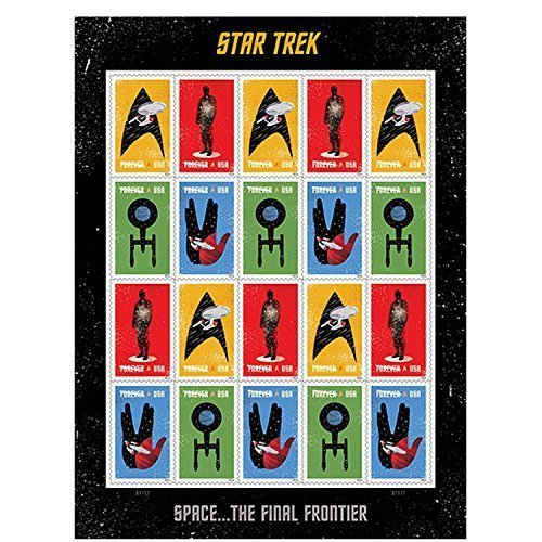 (20 Star Trek USPS Forever First Class Postage Stamps Enterprise classic TV 1 sheet of 20)