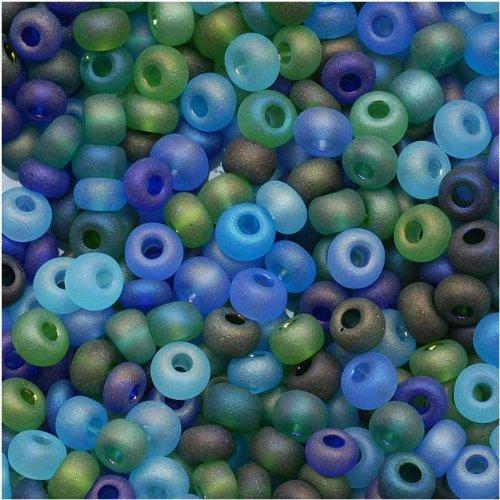 (Czech Seed Beads 6/0 'Matte Oceanic AB' Mix Blue Green (1 Ounce))