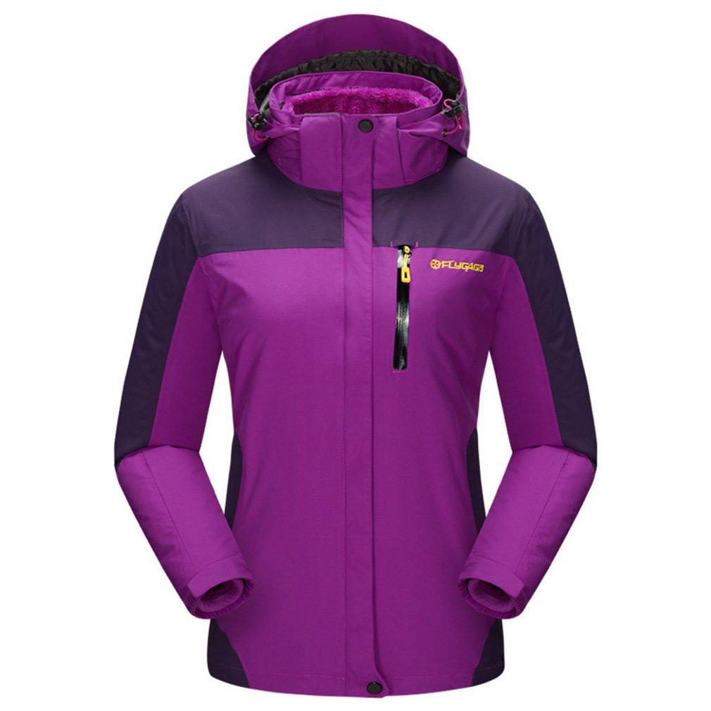 FLYGAGA Donna 3in 1Impermeabile Traspirante Outdoor Sport Campeggio Escursionismo Arrampicata Sci Giacca Antivento Cappuccio Cappotto