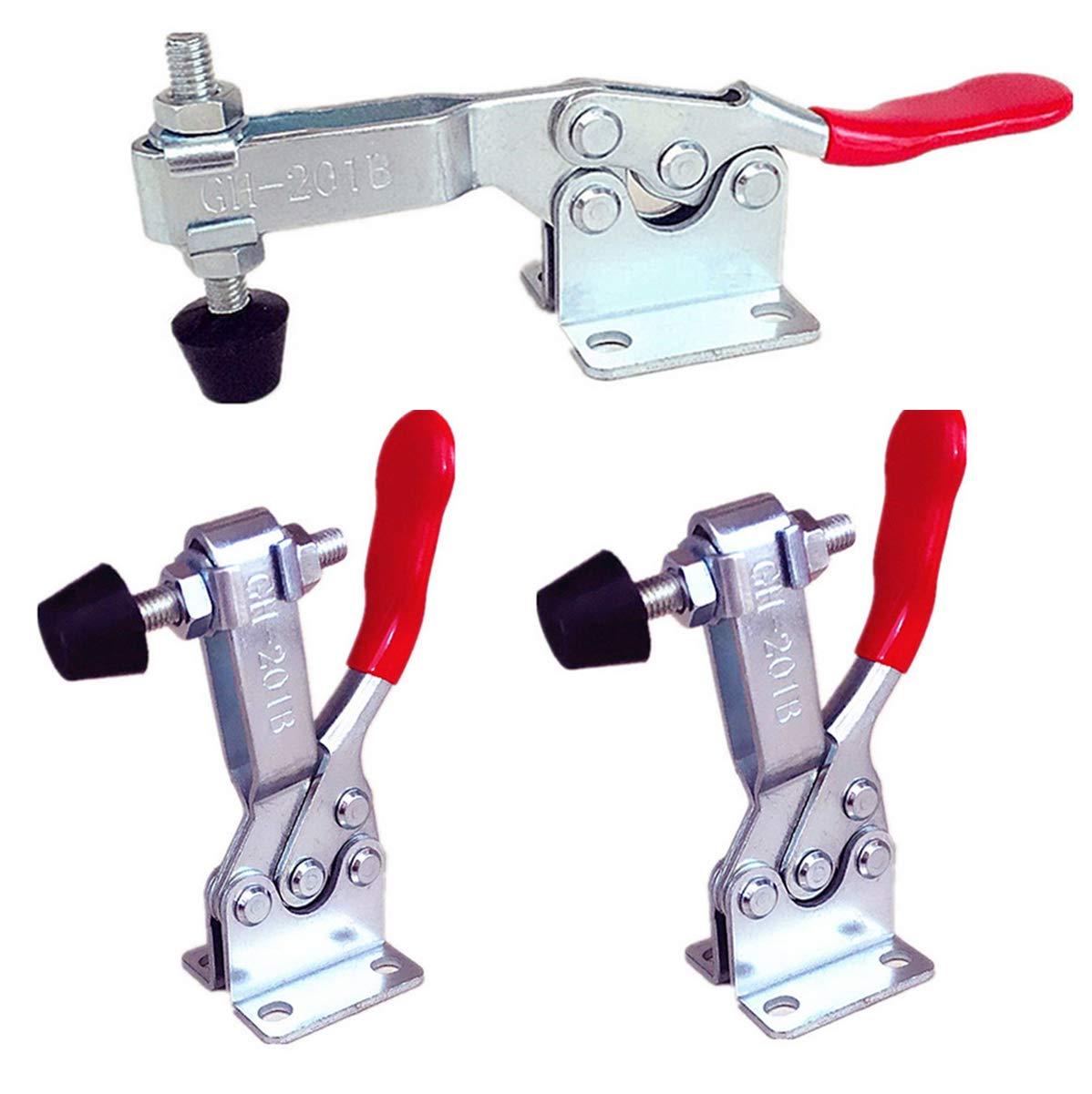 Liuer 3 outils à la main Rouge, 90kgs /198Lbs Tenir capacité Horizontaux à dégagement rapide, antidérapant barre de serrage Outil à Main Serrage à Genouillère/Toggle Clamp