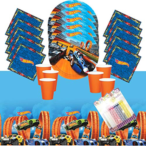 Hot Wheels Wild Racer Party Plates Napkins Cups and Table Cover Serves 16 with Birthday Candles - Hot Wheels Party Supplies Pack Deluxe (Bundle for 16) -