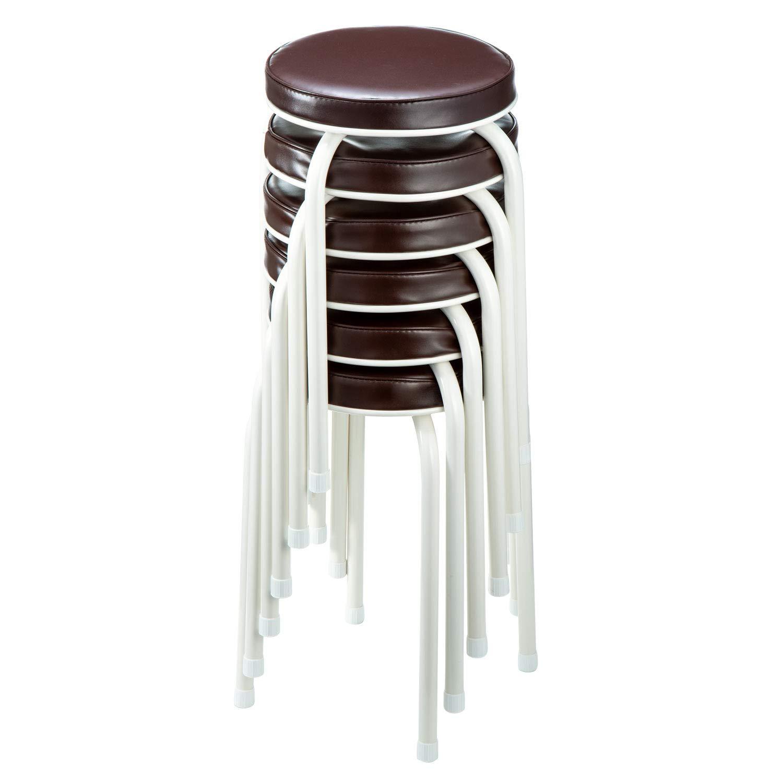 イーサプライ 丸椅子 クッション パイプ オフィス 軽量 スタッキング 背もたれなし おしゃれ 高さ48cm EEX-CH61 (6脚セット) B07H91HXF1  6脚セット
