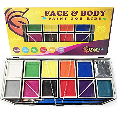 Professional Face Paint Kit for Kids | 12 Vibrant Color Palette | Premium Quality Face and Body Painting Set: Sturdy case & Stencils | Water Based, 100% Safe, Non-Toxic, FDA Approved | Sparta Art