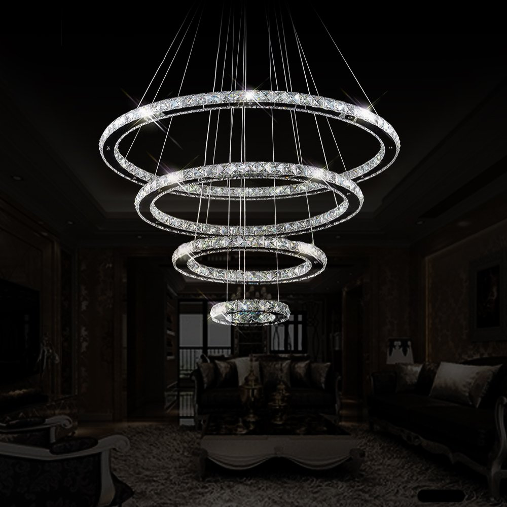 Dearlan Modern Crystal 4 Ring Chandeliers D31.5''+23.6''+15.7''+7.8'' Ceiling Lighting Fixture Chandelier Lighting for Living Room Hotel Hallway Foyer Entry Bed Room by Dearlan (Image #5)