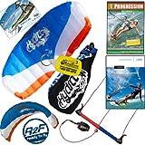 HQ Hydra II 420 V2 Kiteboarding Trainer Kite Bundle : Including Progression Beginner Kitesurfing Instructional DVD + IKO Student Handbook + WindBone Kiteboarding Key Chain : Power Foil Traction Land Snow Water Kiting