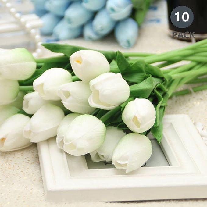 Bouquet di tulipani GKONGU Mazzo di 10 pezzi Realistico Latex Tulipano Artificiale Fiori Naturali Vibranti Naturali Per Decorazione Matrimonio Party Room