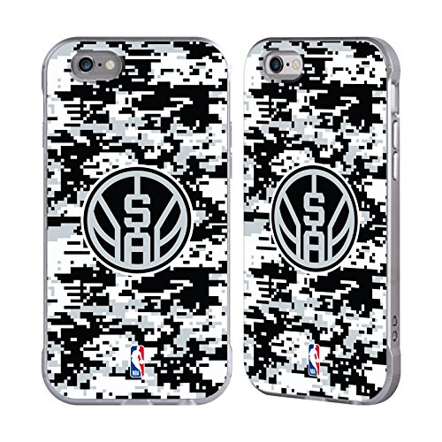Official NBA Digital Camouflage San Antonio Spurs Silver Fender Case for Apple iPhone 6 / iPhone 6s (Silver Nba Spur)