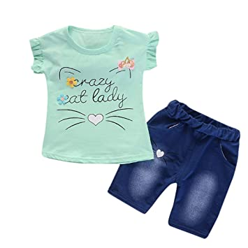 4f802a3cbcf0 Amazon.com   Toddler Baby Girls Ruffle Cartoon Cat Letter Print ...