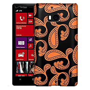 Nokia Lumia 929 Case, Slim Fit Snap On Cover by Trek Paisleys Bold Orange on Black Case