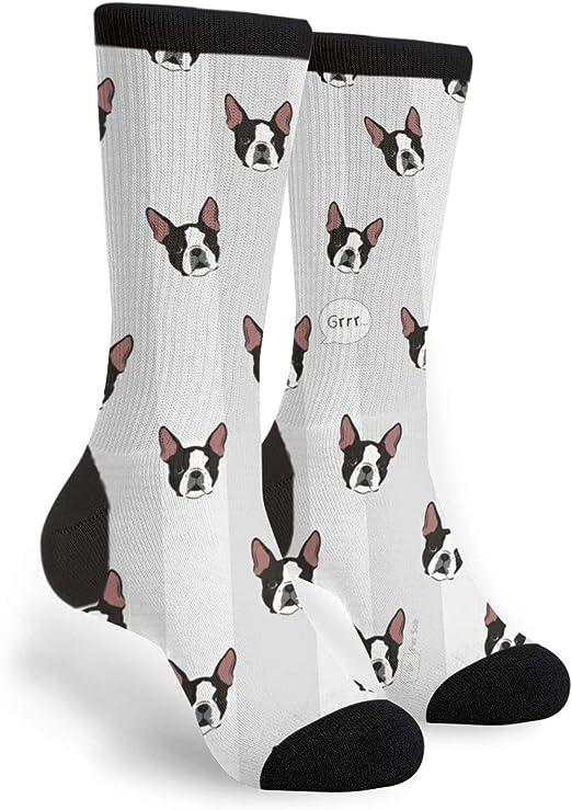 FUNINDIY Boston Terrier Pop Art Crew Sock Crazy Socks Tube High Socks Novelty Funny Thin Light For Teen Boys Girls 50cm