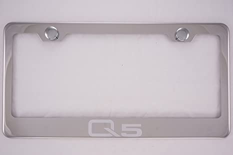 Audi Q5 Black Stainless Steel License Plate Frame W// Bolt Caps
