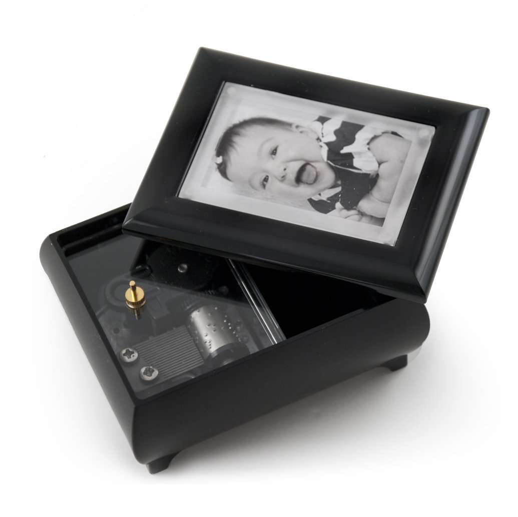 3'' X 2'' Wallet Size Matte Black Photo Frame Music Box With New Pop - Over 400 Song Choices - Out Lens System Take Me Home Country Roads (John Denver) by MusicBoxAttic (Image #3)
