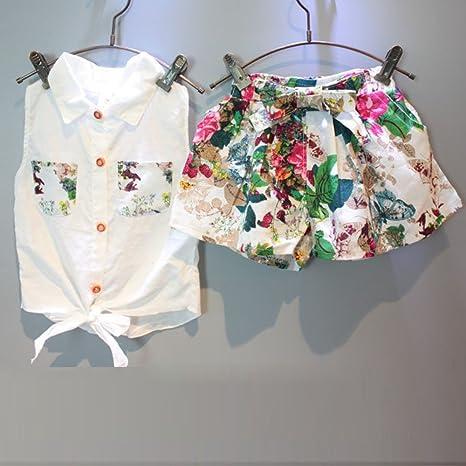 0f232e37f Covermason Niña Carta Impresión Sin mangas Camiseta y Pantalones cortos y  Cinturón/(1 Conjunto/) ...