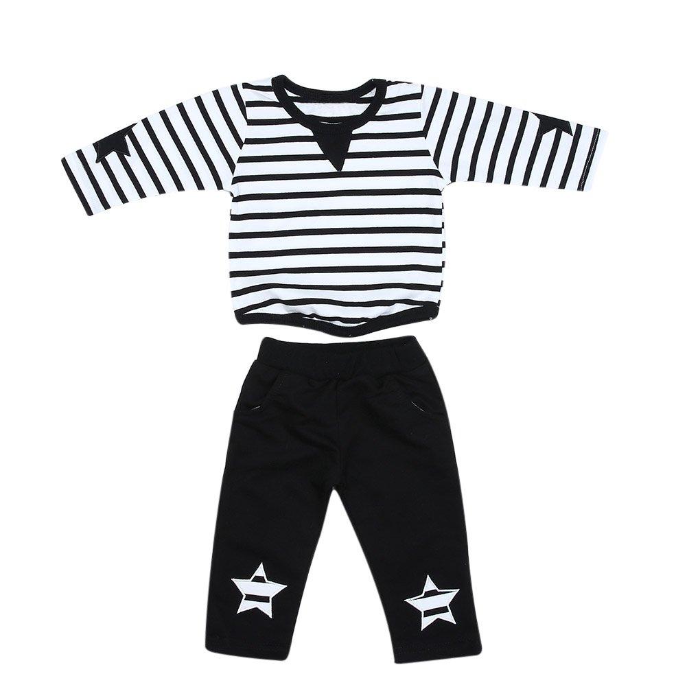 Domybest 2pcs/Set di Abbigliamento Invernale di Cotone Abiti Infantili a Righe + Pantaloni Vestiti alla Moda per Neonati