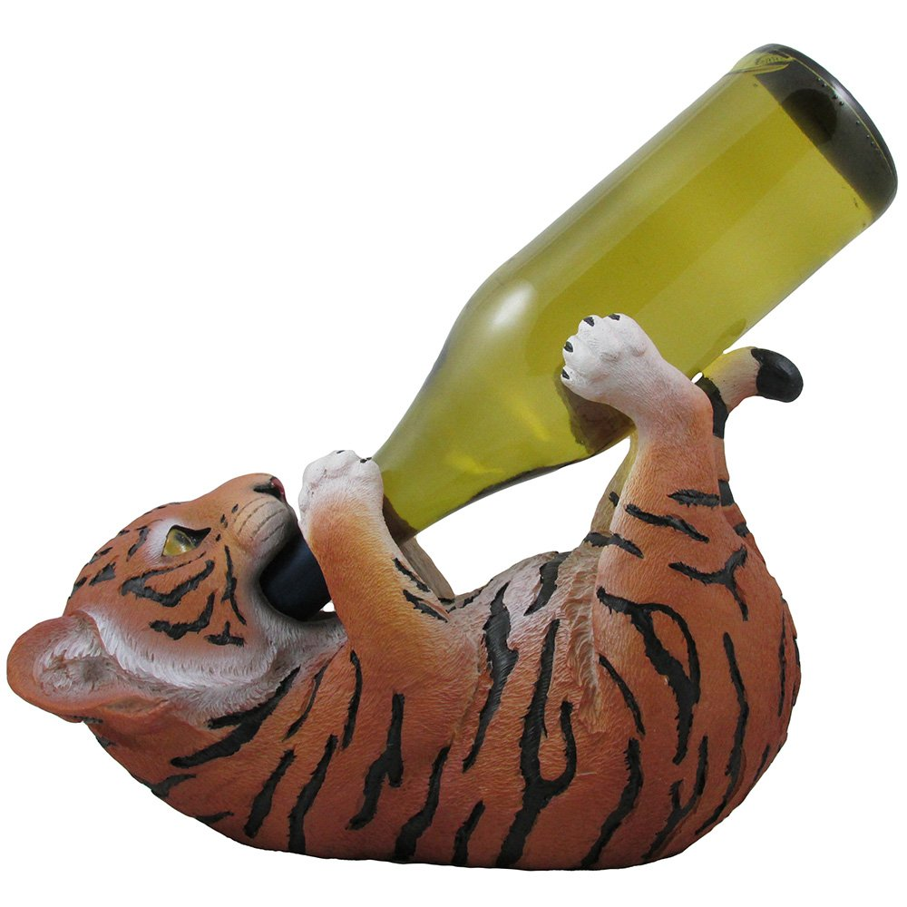 Drinking Orange Bengal Tiger Cub Wine Bottle Holder Sculpture in African Jungle Safari Bar Decor and Decorative Tabletop Wine Stands & Racks As Funny Gifts for Wild Animal Lovers DWK Corp.