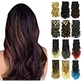 PrettyWit 18-20 Inch Long Clip in on Hair Extensions Real Thick Double Weft Full Head Curly Wavy Hairpiece for Women 7pcs/set(Burgundy)