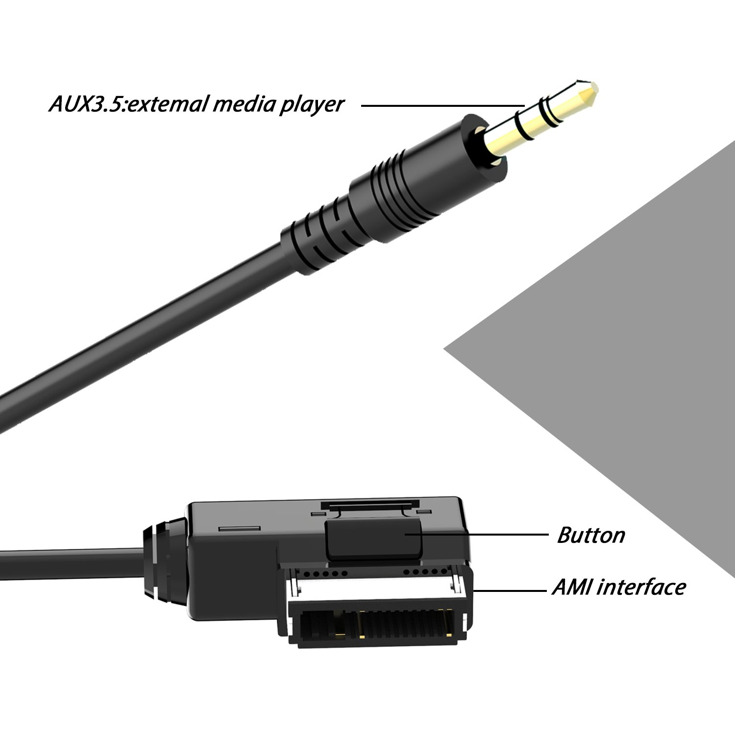 chelink Audi Music Adapter Kabel Portable 3,5/mm AUX-In MP3/Music Adapter Kabel f/ür Auto Audi//A3//A4//A5//A6//A8//Q5//Q7//R8//TT mit Smartphone