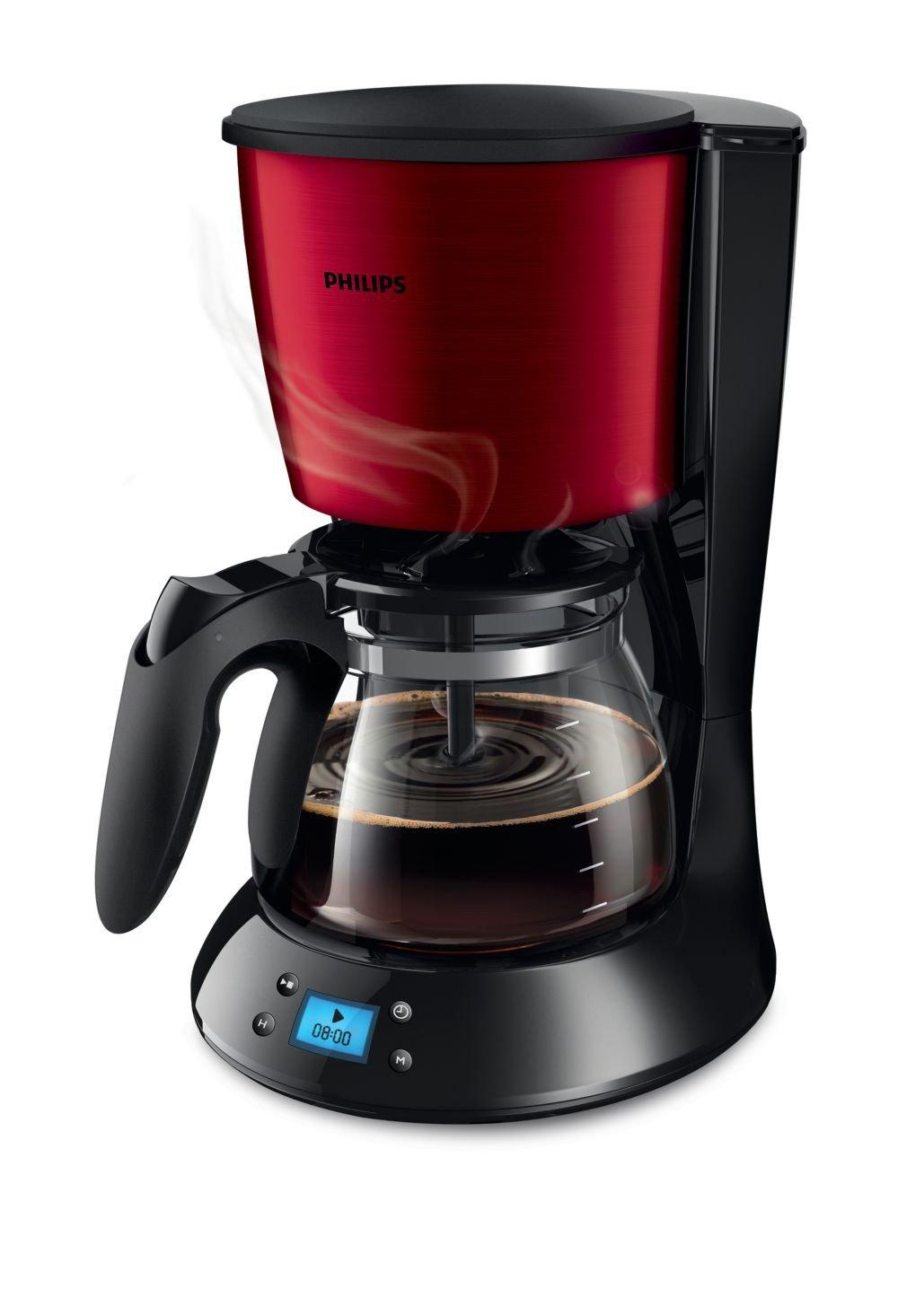 Philips Daily Collection HD7459/61autonome–Cafetière (autonome, Cafetière à Filtre, 1,2l, de café moulu, 1000W, noir, rouge)