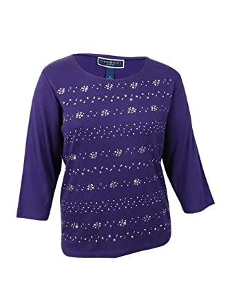 e2b55bcc Karen Scott Womens Plus Embellished Jewel Pullover Top Purple 2X at Amazon  Women's Clothing store: