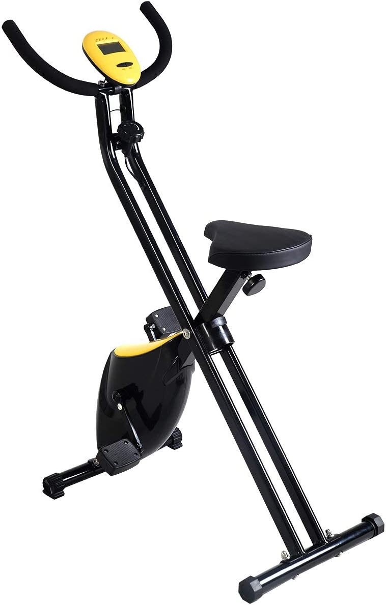 GOPLUS Folding Exercise Bike Fitness Stationary Machine Home Cycling Magnetic Trainer