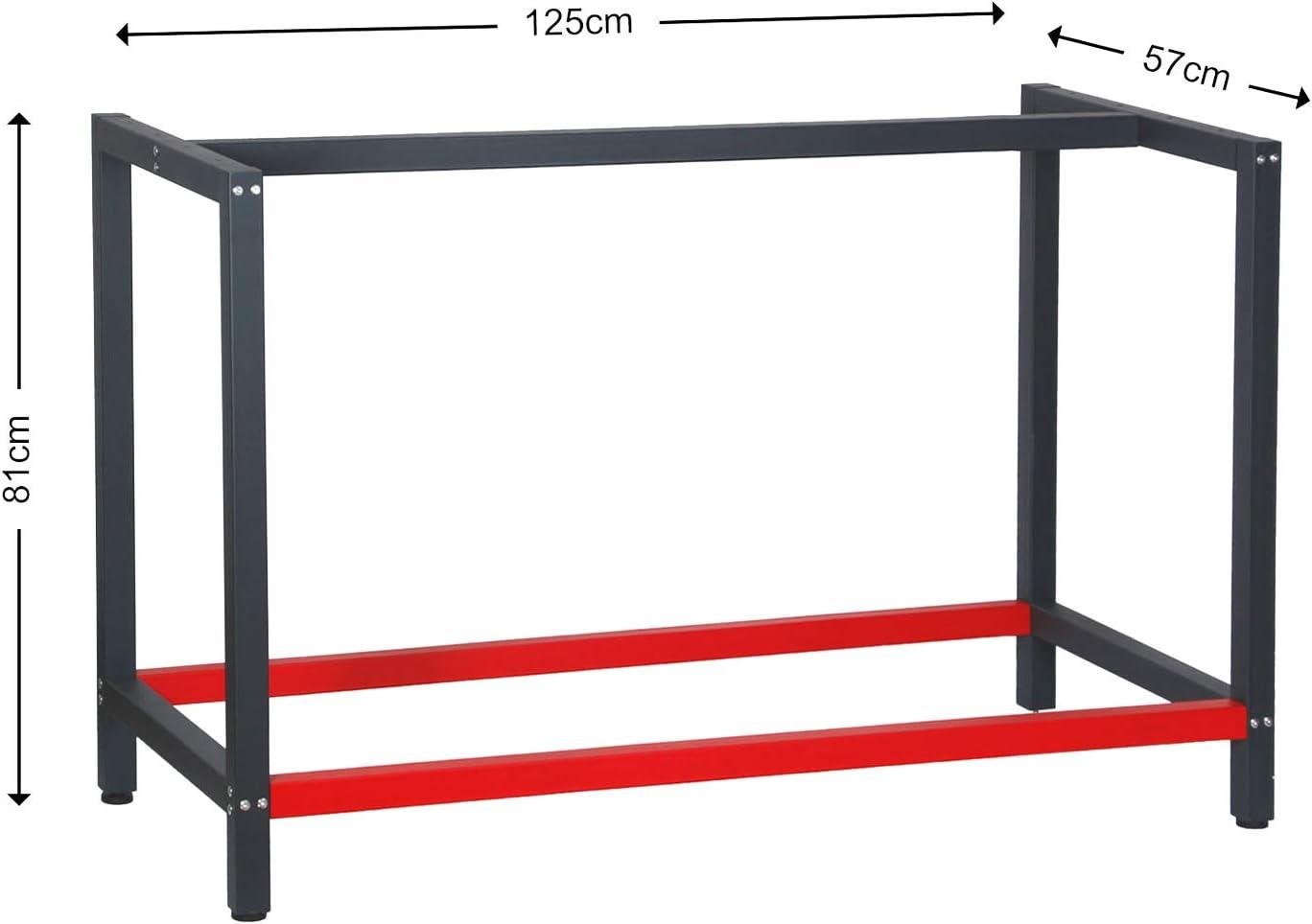 Bastidor para banco de trabajo 125x57x81cm Acero Antracita-rojo ...