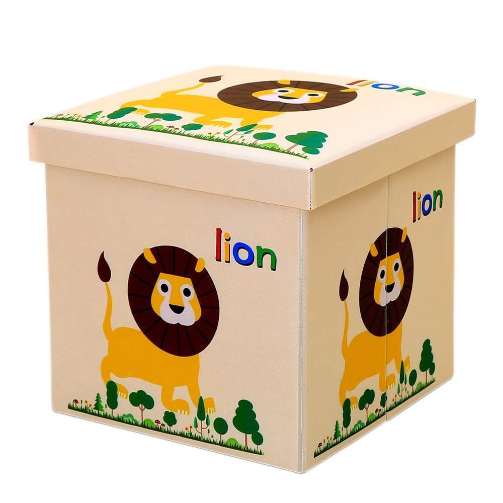 Viyor shop Foldable Storage Ottoman,Animal Collapsible Toy Chest Square Storage Organizer Boxes Lion