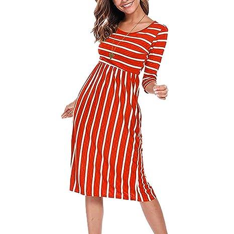 319dcc54cfafe Amazon.com: Women Summer Round Neck Short-Sleeved Dress Stripe ...