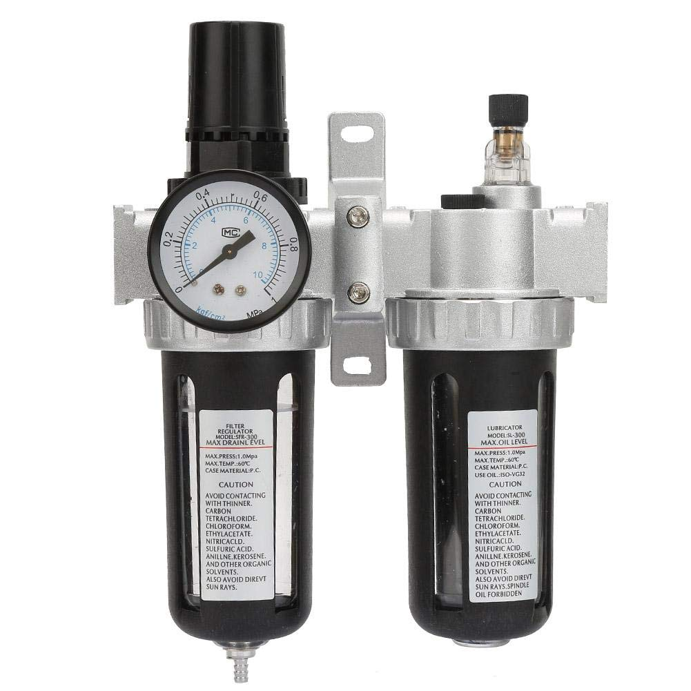 SFC300 Oil Water Filter, 3/8 1.0mpa Air Pressure Compressor Filter Gauge Trap Oil Water Regulator Tool Remove Solid Particles and condensates