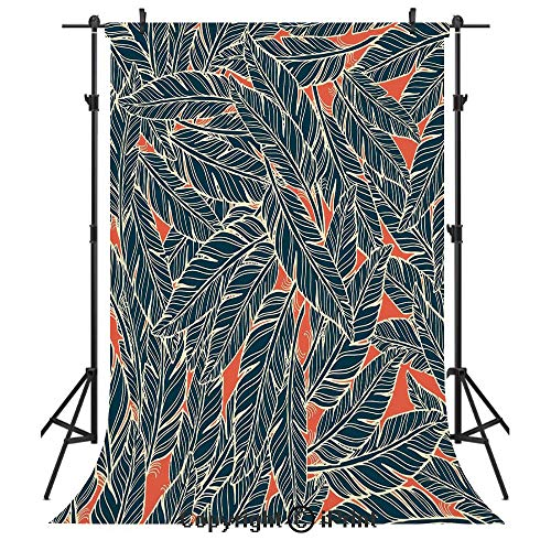 (Feather Decor Photography Backdrops,Modern Artistic Display Flying Quills Birds Animals Wildlife Jungle,Birthday Party Seamless Photo Studio Booth Background Banner 6x9ft,Black Scarlet Cream)
