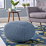 Lucy Knitted Cotton Square Pouf, Teal