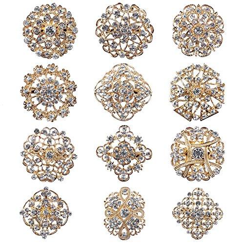 Reizteko Lot 12pcs Gold-Tone Rhinestone brooches,Crystal Wedding Bouquet kit Set (Gold)
