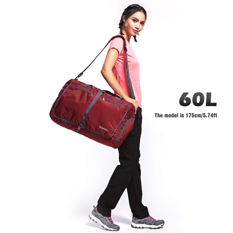 Lightweight Water Repellent /& Tear Resistant 14 Color Choices Gonex 60L Packable Travel Duffle Bag