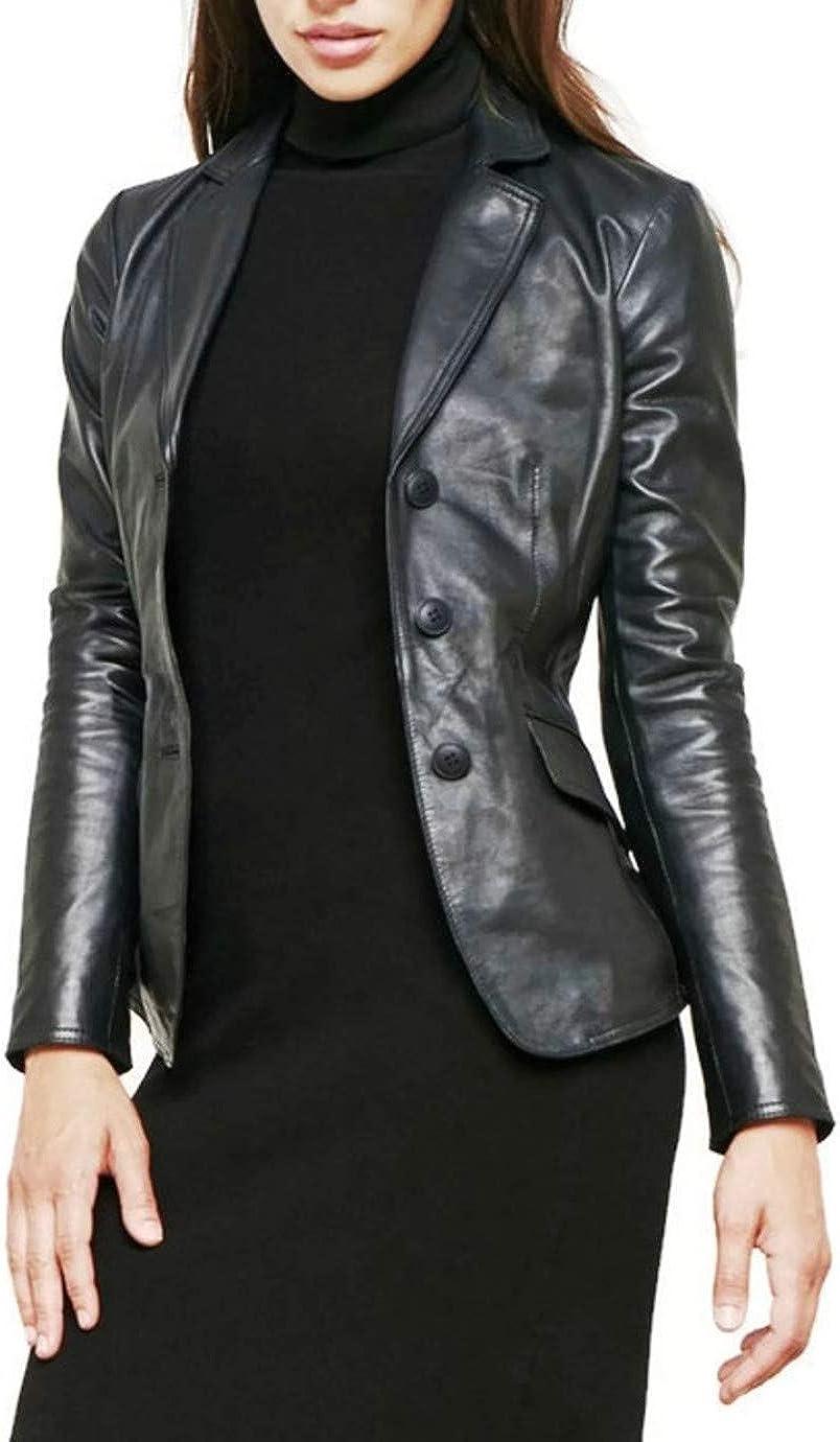 PRASTARA Women's Black Soft Lambskin Short Leather Blazer 3-Button Jacket  at Amazon Women's Coats Shop