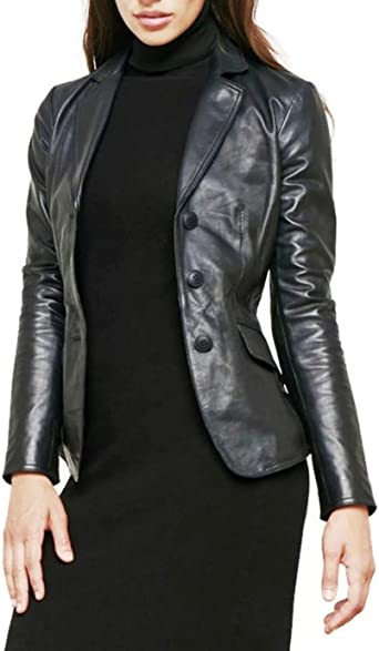 Womens Lambskin Leather Short Peacoat Jacket